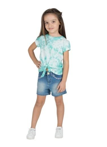 Silversun Kids Kız Çocuk Koyu Denim Kalp Işlemeli Cepli Örme Şort- Sc 216068 Mavi